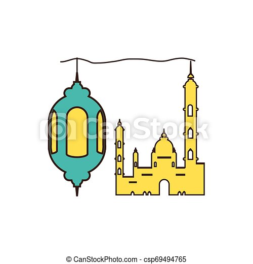 ramadan kareem lantern hanging with mosque building - csp69494765