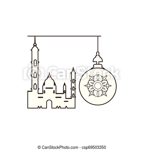 ramadan kareem lantern hanging with mosque building - csp69503350