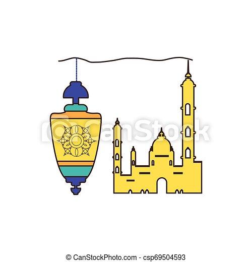ramadan kareem lantern hanging with mosque building - csp69504593