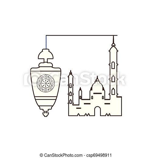 ramadan kareem lantern hanging with mosque building - csp69498911