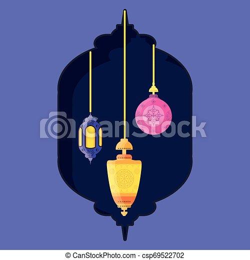 ramadan kareem lanterns hanging - csp69522702
