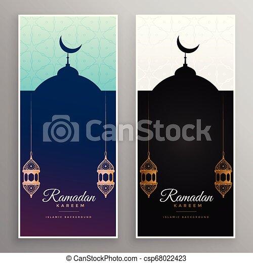 ramadan kareem mosque and lamps banner design - csp68022423