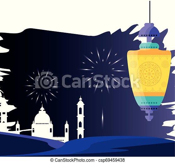 ramadan kareem mosque building with lantern hanging - csp69459438