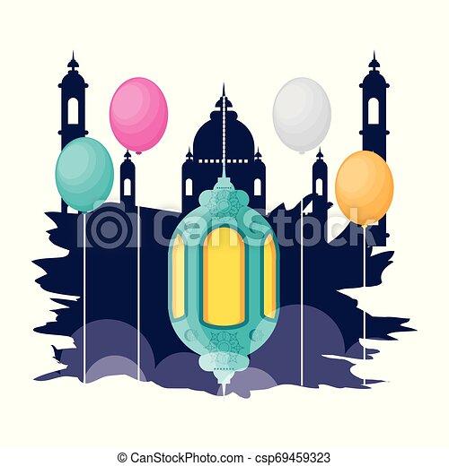 ramadan kareem mosque building with lantern hanging - csp69459323