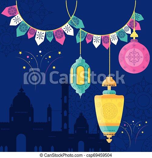 ramadan kareem mosque building with lantern hanging - csp69459504