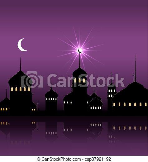 Ramadan Kareem Night Background with Silhouette Mosque and Minarets - csp37921192