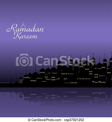 Ramadan Kareem Night Background with Silhouette Mosque and Minarets - csp37921202
