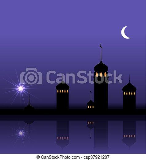 Ramadan Kareem Night Background with Silhouette Mosque and Minarets - csp37921207