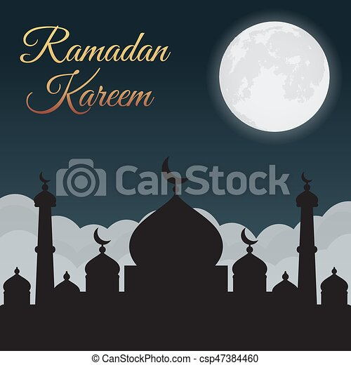 Ramadan Kareem. Night sky with mosque silhouette and moon, clouds. Arabic background - csp47384460