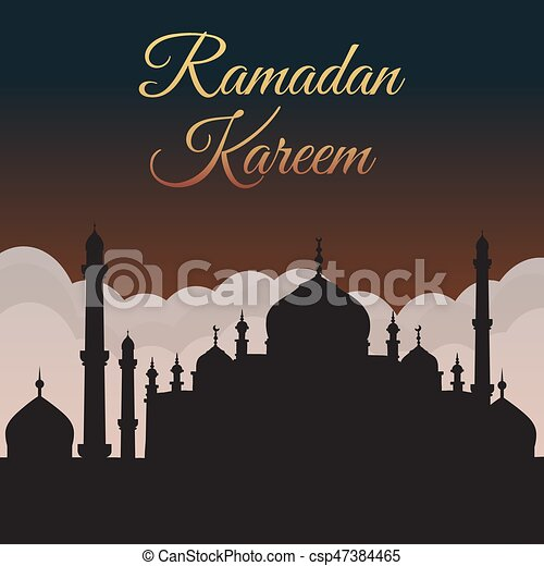 Ramadan Kareem. Night sky with mosque silhouette and clouds. Arabic background - csp47384465