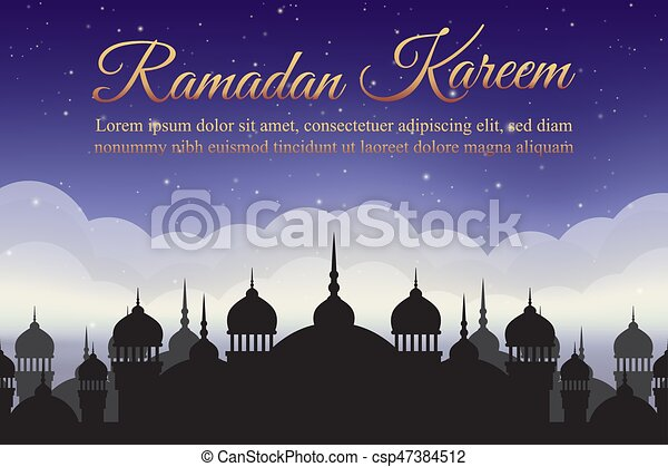 Ramadan Kareem. Night sky with mosque silhouette and clouds. Arabic background - csp47384512