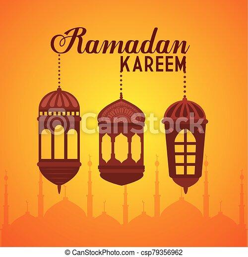 ramadan kareem poster with lanterns hanging - csp79356962