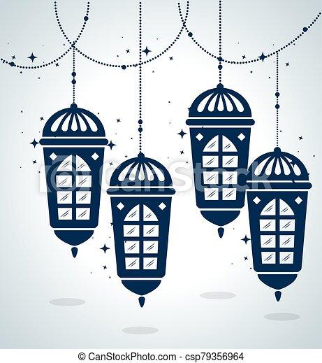 ramadan kareem poster with lanterns hanging - csp79356964