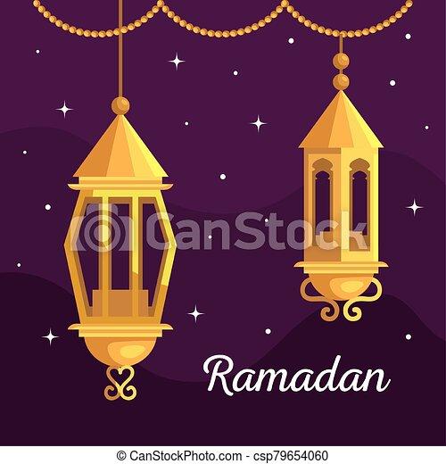 ramadan kareem poster with lanterns hanging - csp79654060