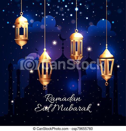 ramadan kareem poster with lanterns hanging - csp79655760