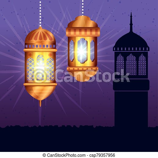 ramadan kareem poster with lanterns hanging - csp79357956
