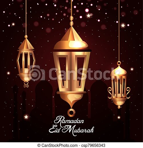 ramadan kareem poster with lanterns hanging - csp79656343