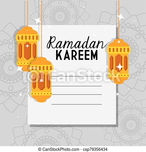 ramadan kareem poster with lanterns hanging - csp79356434