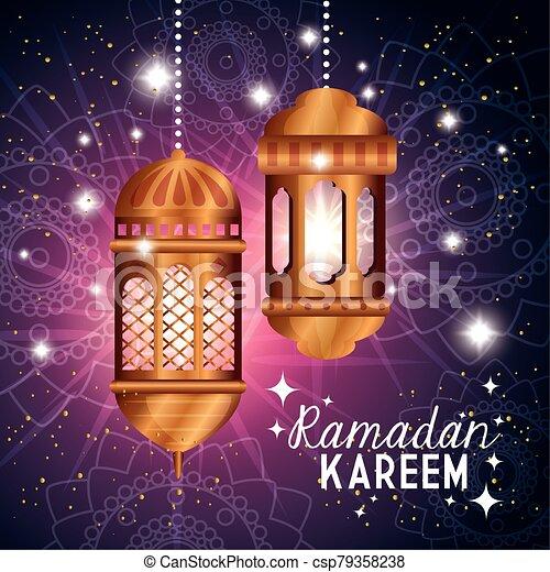 ramadan kareem poster with lanterns hanging - csp79358238