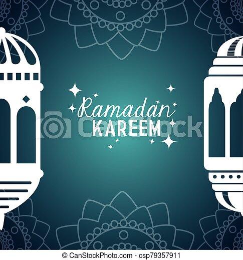 ramadan kareem poster with lanterns hanging - csp79357911