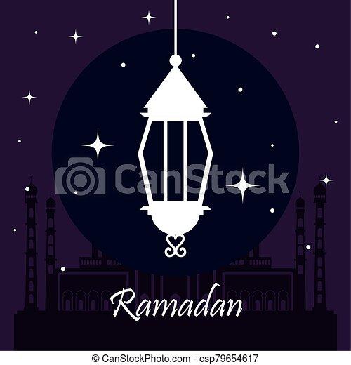 ramadan kareem poster with lanterns hanging - csp79654617