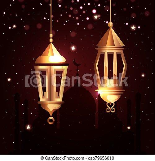 ramadan kareem poster with lanterns hanging - csp79656010