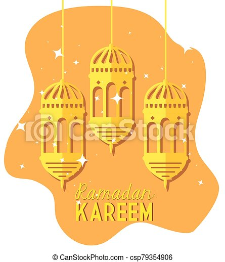ramadan kareem poster with lanterns hanging - csp79354906