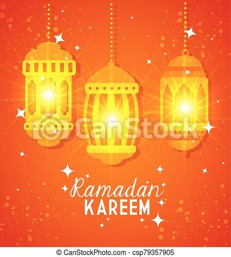 ramadan kareem poster with lanterns hanging - csp79357905