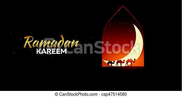 Ramadan kareem ramadan mubarak greeting card arabian night with ramadan kareem ramadan mubarak greeting card arabian night with crescent moon and camels m4hsunfo