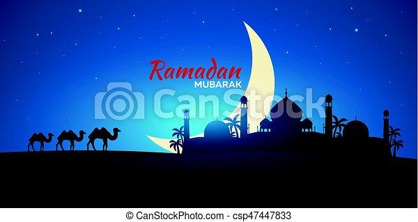 Ramadan kareem ramadan mubarak greeting card arabian vectors ramadan kareem ramadan mubarak greeting card arabian night with crescent moon and camel m4hsunfo Choice Image