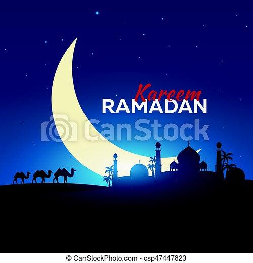 Ramadan kareem ramadan mubarak greeting card arabian night with ramadan kareem ramadan mubarak greeting card arabian night with crescent moon and camel m4hsunfo