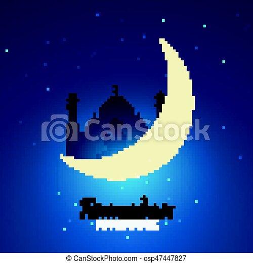 Ramadan kareem ramadan mubarak greeting card arabian night with ramadan mubarak greeting card arabian night with crescent moon m4hsunfo