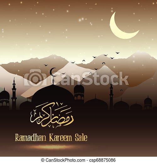 Ramadan Kareem sale with mosque - csp68875086