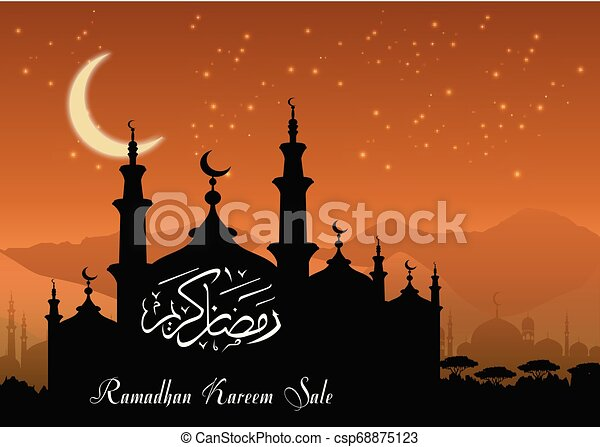 Ramadan Kareem sale with Mosque silhouette at night background - csp68875123