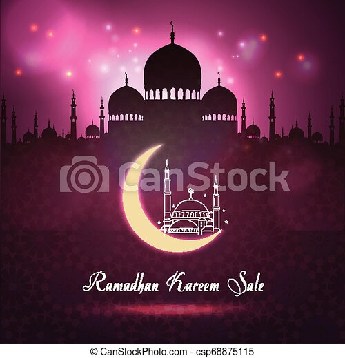 Ramadan Kareem sale with Mosque silhouette at night background - csp68875115