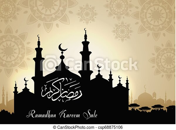 Ramadan Kareem sale with Mosque silhouette at night background - csp68875106