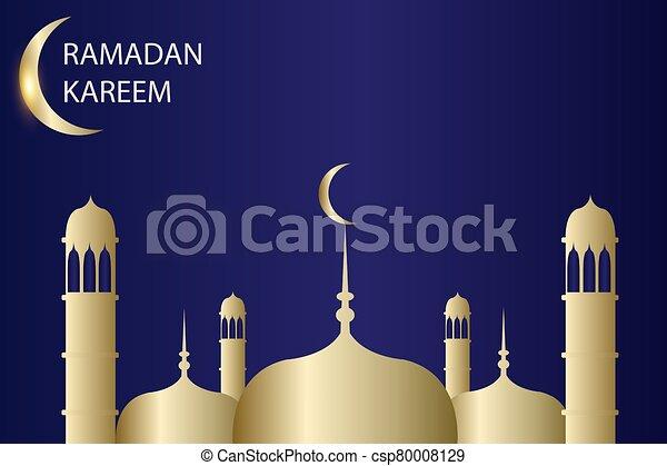 ramadan kareem with blue background gold - csp80008129