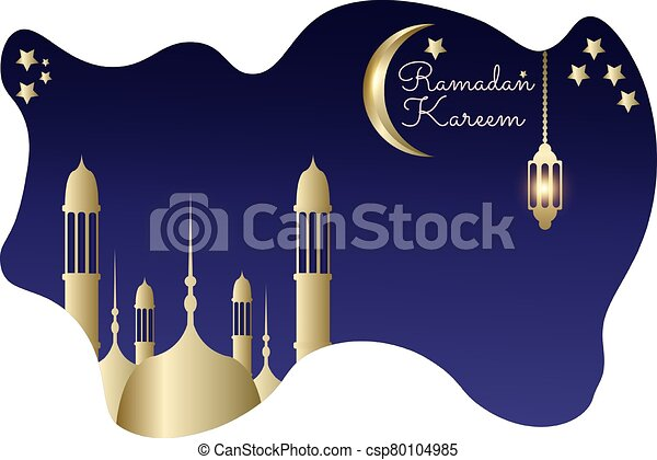 Ramadan kareem with liquid blue background mosque gold moon - csp80104985