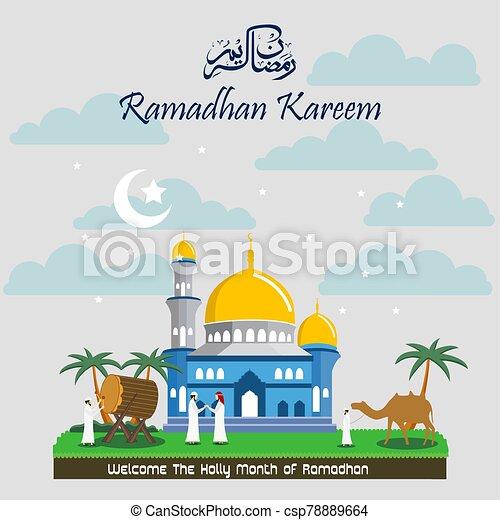 Ramadan Kareem with Mosque background - csp78889664