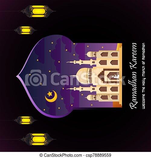 Ramadan Kareem with Mosque background - csp78889559
