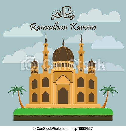 Ramadan Kareem with Mosque background - csp78889537