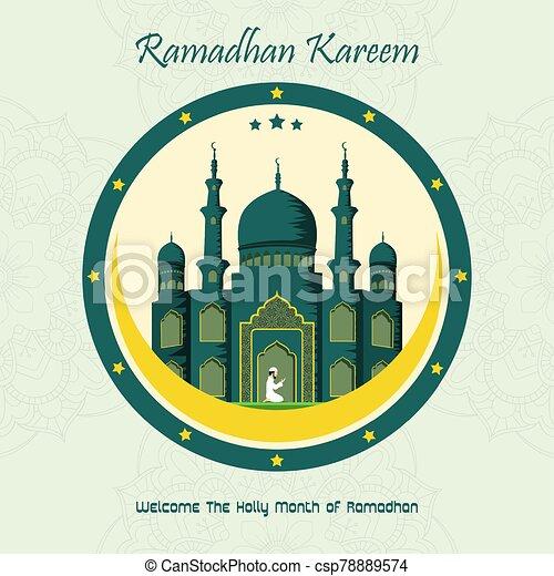 Ramadan Kareem with Mosque background - csp78889574