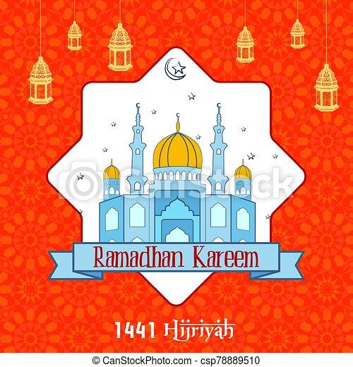 Ramadan Kareem with Mosque background - csp78889510