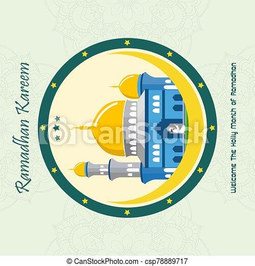 Ramadan Kareem with Mosque background - csp78889717