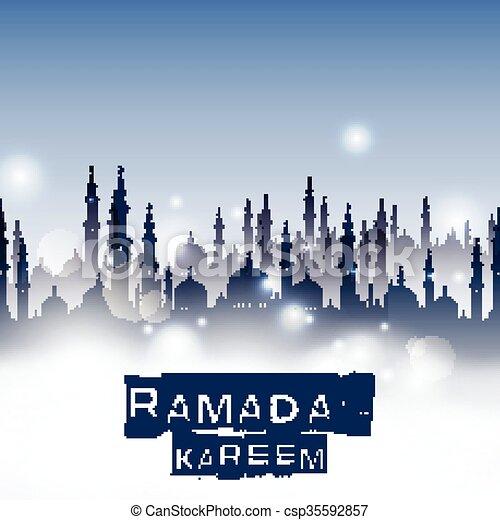 Ramadan kareem with mosque - csp35592857