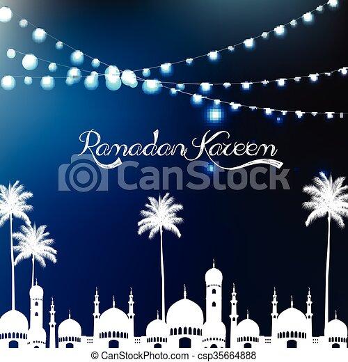 Ramadan kareem with mosque - csp35664888