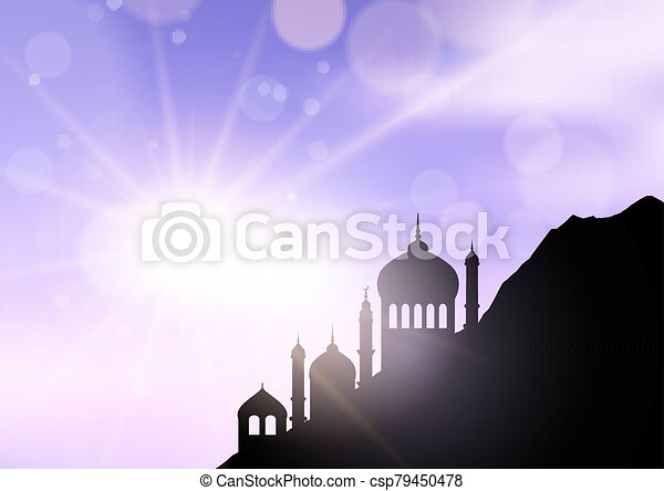 ramadan landscape with mosques against sunny sky 1603 - csp79450478