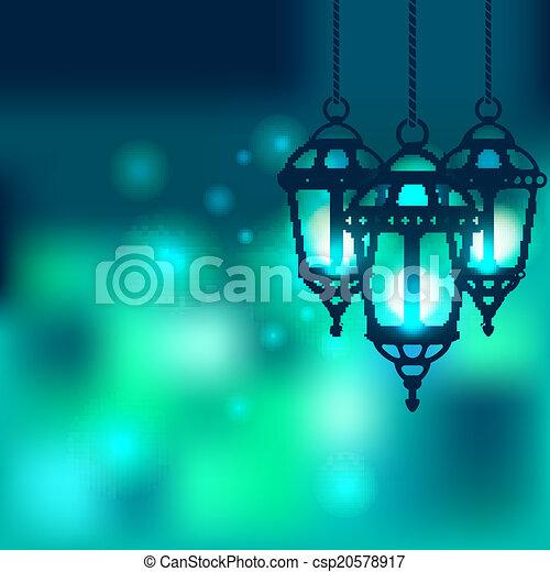 Ramadan lantern shiny background - csp20578917