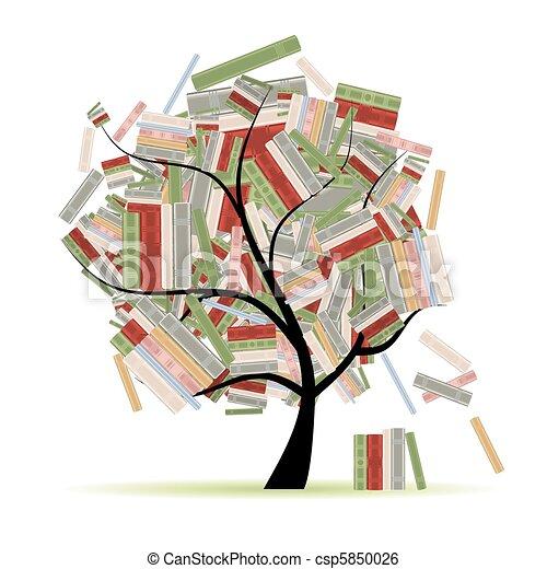Libros de la biblioteca en ramas de árbol para tu diseño - csp5850026