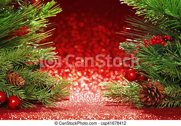 ramas, árbol, plano de fondo, navidad, rojo, brillo - csp41678412